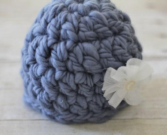 Crochet Baby Hat, Newborn Thick and Thin Photo Prop