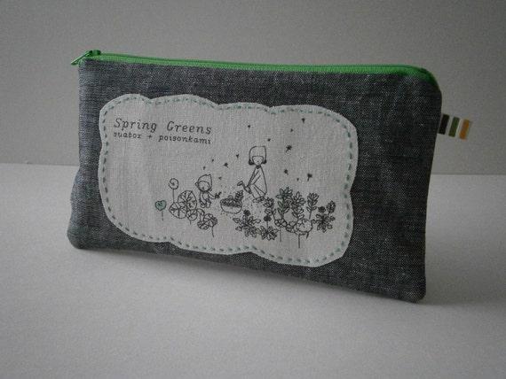 cotton fabric zippered applique pencil case