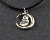 New Baby Welcome Sterling Silver Necklace on Sterling Silver Box Chain or Black Satin Cord