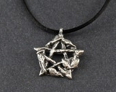 Pentacle Persephone's Pentacle on Sterling Silver Box Chain or Black Satin Cord