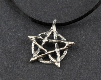 Pentacle Rustic Sterling Silver Necklace on Sterling Silver Chain or Black Satin Cord