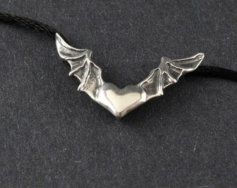 Heart In Flight Bat Wings Sterling Silver Necklace on Sterling Silver Box Chain or a Black Satin Cord