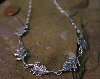 Oak Leaf Sterling Silver Large Necklace
