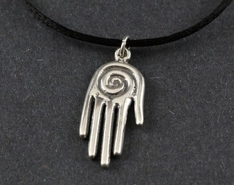 Spiral Spirit Hand Sterling Silver Necklace on choice of Sterling Silver Box Chain or Black Satin Cord