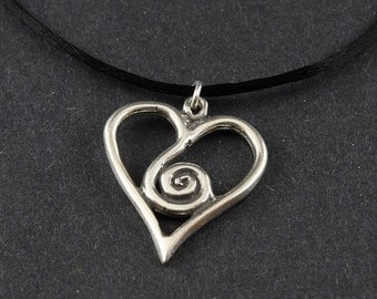 Spirit Heart/Spiral Heart Sterling Silver Necklace on Black Satin Cord