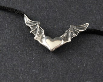 Heart In Flight Bat Wings Sterling Silver Necklace on Sterling Silver Box Chain or Black Satin Cord