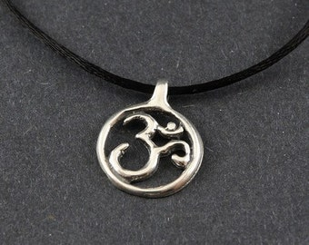 Ohm Sterling Silver Necklace on Sterling Silver Box Chain or Black Satin Cord