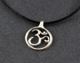 Ohm Sterling Silver Necklace on choice of Sterling Silver Box Chain or Black Satin Cord