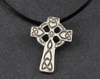 Celtic Cross Sterling Silver on Sterling Silver Box Chain or a Black Satin Cord