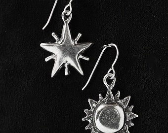 Star and Sun Earrings Sterling Silver