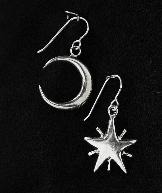 Moon & Star Earrings Sterling Silver