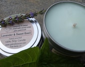 Lavender and Sweet Basil Soy Candle - 6 Oz Travel Tin