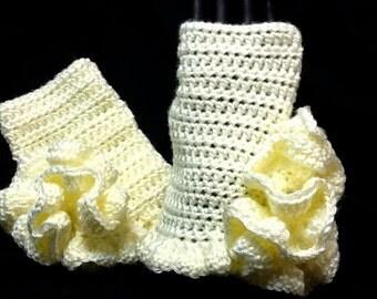 Frilly Crocheted Fingerless Gloves