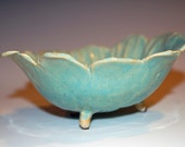 Pottery Serving or Candy Dish with Green Glaze, Great for Salsa, Dips, Crackers