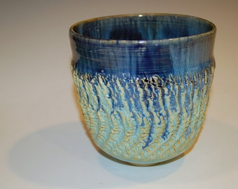 Stoneware Pottery Bowl, Textured Art Ceramic Bowl, Blue and Green Mixing Bowl, Ceramics and Pottery