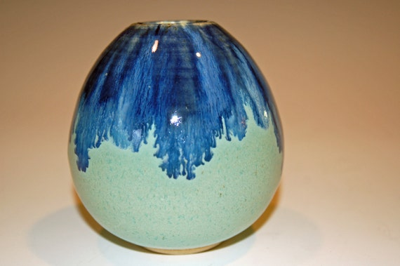Pottery Vase with Blue and Green Glaze