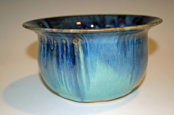 Deep Pottery Bowl with Blue and Green Glazes