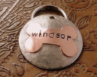 Custom XXL Domed Bone Dog ID Tag-Personalized Pet ID Tag-Handmade Dog Name Tag