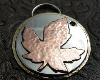 Custom ID Dog Tag Maple Leaf,Personalized Pet ID Tag,Metal Dog Collar Maple Leaf Tag,Dog Tag for Dogs