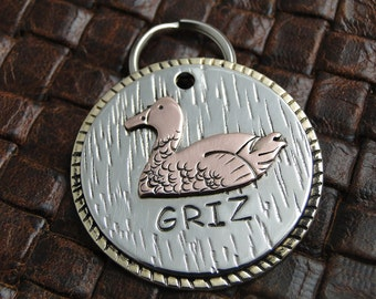 Custom Duck ID Dog Tag, Handmade Pet ID Tag, Dog Collar Tag, Duck Pet ID Tag