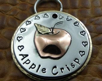 Custom Dog ID Tag - Apple of my Eye Personalized Dog Collar Tag - Handmade Dog Tag