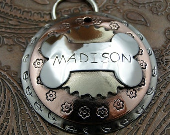 Custom Dog ID Tag Domed Bone Madison-Handmade Pet ID Tag-Name Tag for Dog Collar