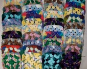 Make Your Own Afghan With 36 Handmade Yarn Mixed Colors Granny Squares Lot M-1