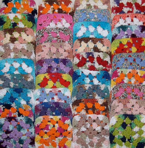 Make Your Own Afghan With 36 Handmade Yarn Mixed Colors Cotton Granny Squares Lot C-1