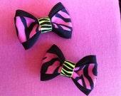 Pair of Mini Fluorescent Zebra Hair Bows