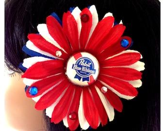 Patriotic Pabst Blue Ribbon Crystal Hair Daisy Flower Rockabilly