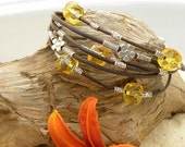 Golden  Citrine, Chocolate Brown Leather and Silver Bracelet