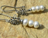 Reserved for Francoise - Modern Sterling Silver, Saltwater Pearls and Flowers Earrings