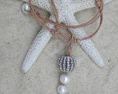 Leather and Pearls Necklace - Summer Perfection