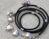 Sterling Silver, Pears and Black Leather Wrap Bracelet