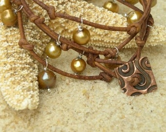 Gold Pearls and Natural Brown Leather Bracelet / Necklace
