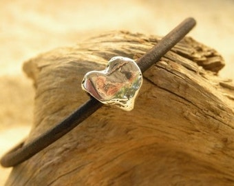 Artisan Sterling Silver Heart  and Chocolate Leather Bracelet