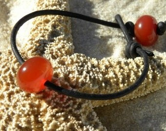 Leather and Natural Carnelian Bracelet