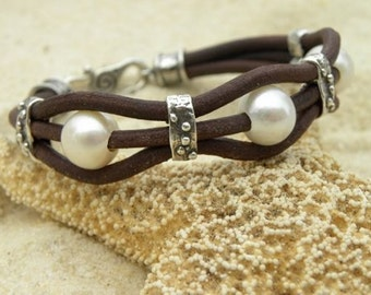 Pearls, Artisan Sterling Silver  and Chocolate Leather  Bracelet Bangle