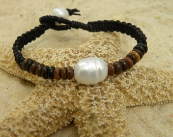 Grand South Sea Pearls, Leather and African Coffee Seed Beads  Bracelet
