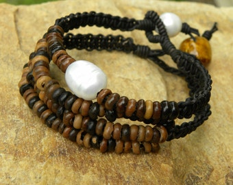 Leather and Old African Coffee Seed Beads  Bracelet