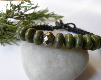 Natural Golden and Green Crystal Pyrite Leather Bracelet