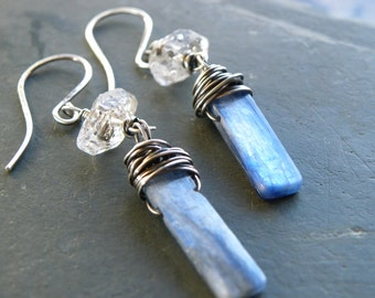 Handcrafted Sterling Silver Blue Kyanite Herkimer Diamond Wire Wrapped  Earrings