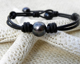 Black Leather and Pearls Knotted Bracelet Summer Surfer Beach