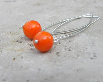 Sterling Silver and Tangerine Tango Coral Handcrafted  Long Earrings Orange