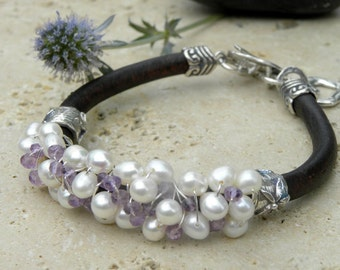 Artisan Sterling Silver Pearls Amethyst and Leather  Wire Wrapped Bracelet