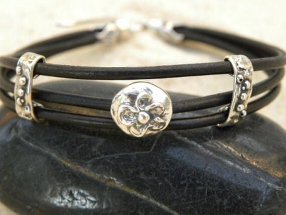 Black Leather and Artisan Silver Bracelet