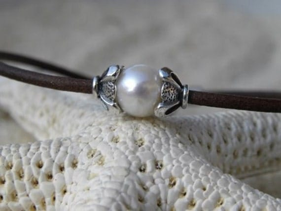 Sterling Silver, Pearl and Leather Bracelet