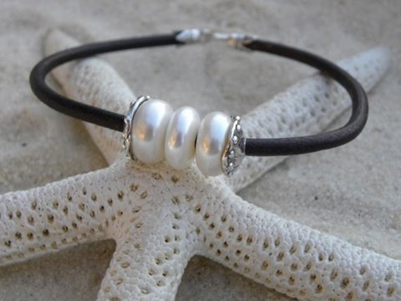 Pearls, Artisan Silver and Chocolate Leather Bracelet