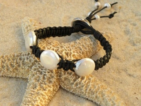 Leather and Pearls - The Ultimate Beach Bracelet