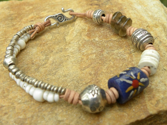 Old African Beads, Sterling Silver and Leather Bracelet